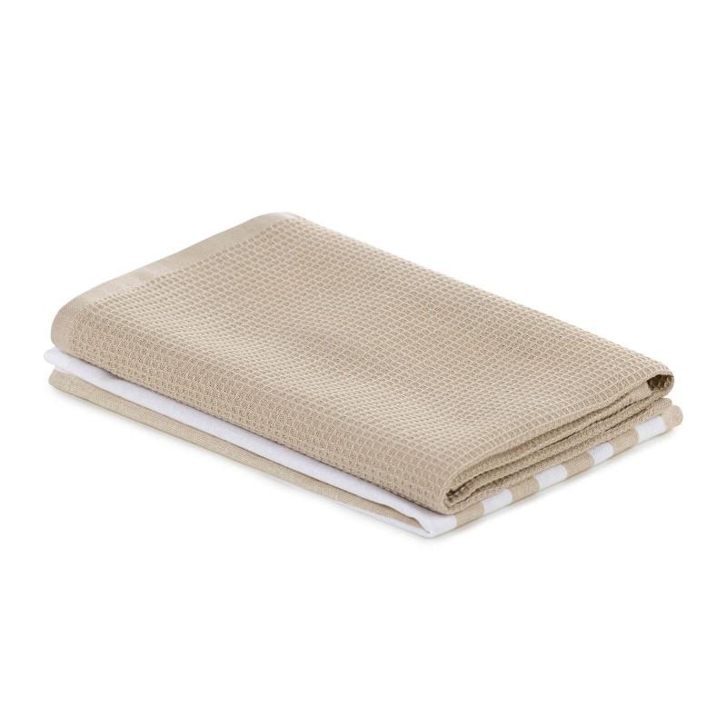Set od dvije krpe od 100% pamuka savršeno upijaju tekućinu te idealne su za brisanje posuđa i radnih površina u kuhinji. Moderan dizajn dat će dodir lijepo uređenoj kuhinji. Krpe su perive na 40°C (tiskano) i 60°C (vafel).