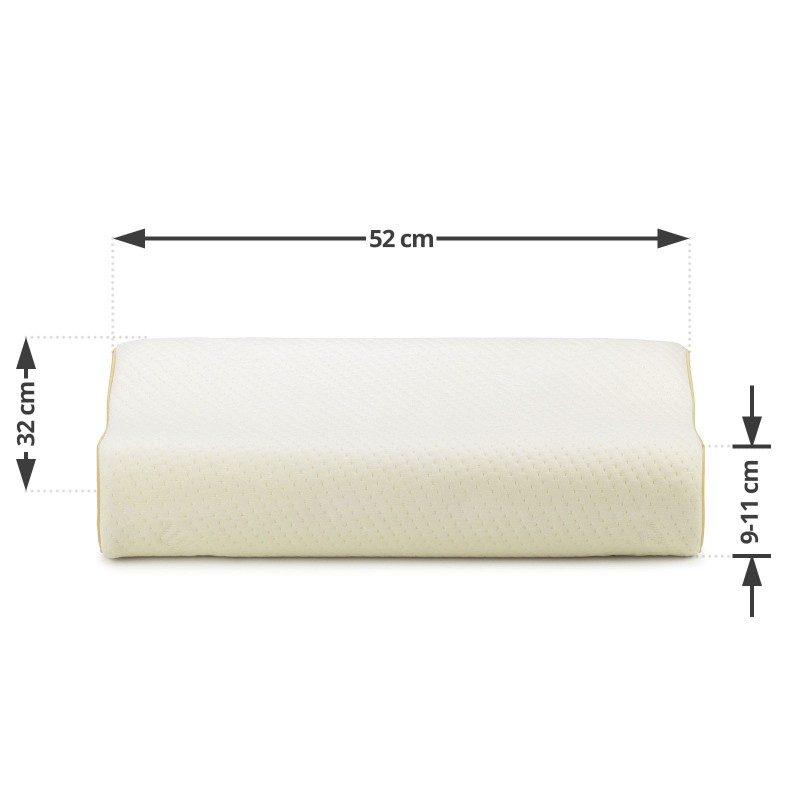 Anatomski jastuk od memorijske pjene MemoDream pogodan je za sve koji spavaju uglavnom na boku ili leđima. Memorijska pjena kombinuje prednosti i karakteristike klasičnih jastuka i jastuka od lateksa. Savršeno se prilagođava obliku i pritisku tijela, savršeno podupire vrat i kičmu i opušta tijelo tokom spavanja. Navlaka se skida i pere na 40 °C.