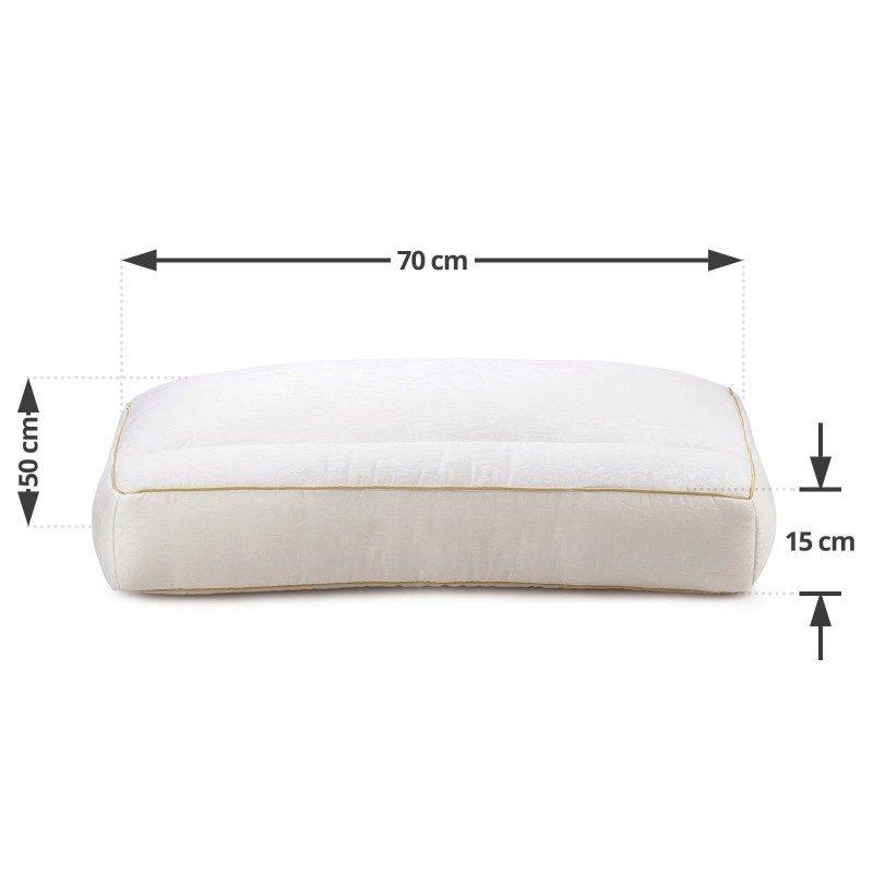 Dvodijelni anatomski jastuk Royal Sleep David je zahvaljujući svojoj visini i obliku, pogodan za sve osobe sa širim ramenima i koje najčešće spavaju na boku. Jastuk se sastoji od dva dijela, koji su odvojene pregradom, čvršćeg u predjelu ramena i mekšeg za udoban položaj glave tokom spavanja. Jastuk se u potpunosti pere na 30 °C.