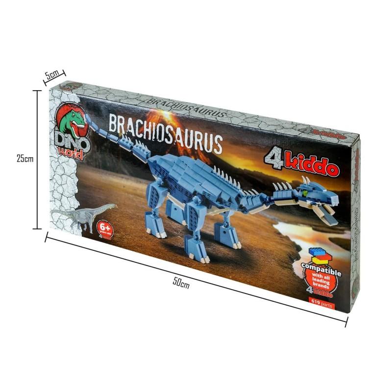 Voliš filmove o Jurassic Parku? Sada su u vašoj kući dinosaurusi! Izaberite svog omiljenog dinosaurusa i napravite strašnu filmsku scenu Jurassic Parka! Postoji čak 10 različitih dinosaurusa koje ćete bolje upoznati zabavnim sastavljanjem. Učenje i kreativno stvaranje Djeca vole kockice, vole da kreiraju i stvaraju. Sa Kiddo kockama ulaze u svijet dinosaurusa na zabavan i poučan način. Kockice su korisne za slobodno vrijeme. Podstiču maštu i kreativnost. Komplet sadrži 619 djelova. Primjereno za djecu od 6 godina. Da li dovoljno poznajeteBrachiosaurusa? Brachiosaurusi se porede sa žirafima, jer su imali dugačak vrat, koji im je pomogao da pristupe hrani na višim položajima. Njihova glava imala je robusnu, široku njušku i debelu vilicu sa zubima u obliku kašike. Na donjoj i gornjoj vilici imao je 26 zuba, a ukupno 52. Njihova specijalnost bila je to što su smatrani ekstremno neuobičajenim dinosaurusima. Naučnici su u početku pretpostavili da imaju blizanca, ali se kasnije ova pretpostavka ispostavila kao pogrešna. Opšte karakteristikeBrahiozavra:  Visina: 12-16 m Dužina: 25 m Težina: od 25 do 30 tona Mjesto: Amerika (Grand River Canyon) Period: prije 154-153 miliona godina Hrana: biljojedi