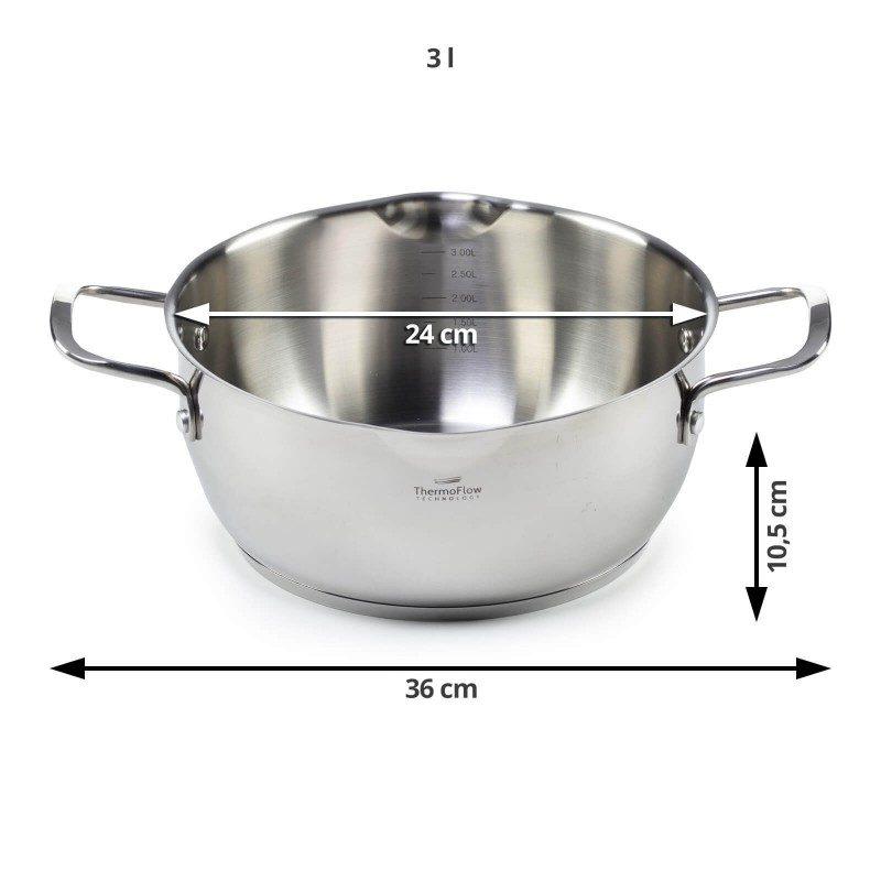 Čelična šerpa Pour & Cook prečnika 24 cm i zapremine 3 l odlikuje neuništiv, nehrđajući čelik 18/10 i 3-slojno dno koje omogućava brzo, ravnomijerno zagrijavanje i kraće vrijeme kuhanja. Tehnologija ThermoFlow omogućava odličnu distribuciju toplote po cijeloj površini posude i na taj način obezbjeđuje ravnomijerno kuhanje. Za jednostavnije kuhanje šerpa ima mjernu skalu u unutrašnjosti posude, a za lakše odlivanje i isparavanje prilagođeni poklopac i zaobljeni rub posode. Pogodno za sve površine za kuhanje, uključujući indukcionu. Lako se čisti i može se prati i u mašini za pranje posuđa.