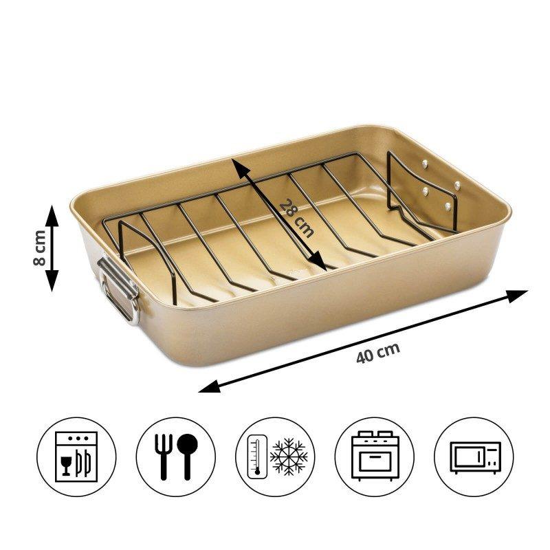 kač sa mrežicom Rosmarino Baker Gold, izrađen od visokokvalitetnog karbonskog čelika i modernog izgleda u zlatnoj boji, biće vaš novi nezamjenjivi pomoćnik za pečenje. Neprijanjajući premaz sa efektom vrućeg kamena, daje jedinstven pristup pečenju. Hrana se tako neće lijepiti za posudu i lako ćete je izvaditi bez upotrebe kuhinjskog pribora. Pekač je zahvaljujući svom sastavu od karbonskog čelika, otporan na visoke temperature i do 240°C, pogodan za skladištenje u frižideru. Idealan za pečenje raznovrsnog mesa i povrća.