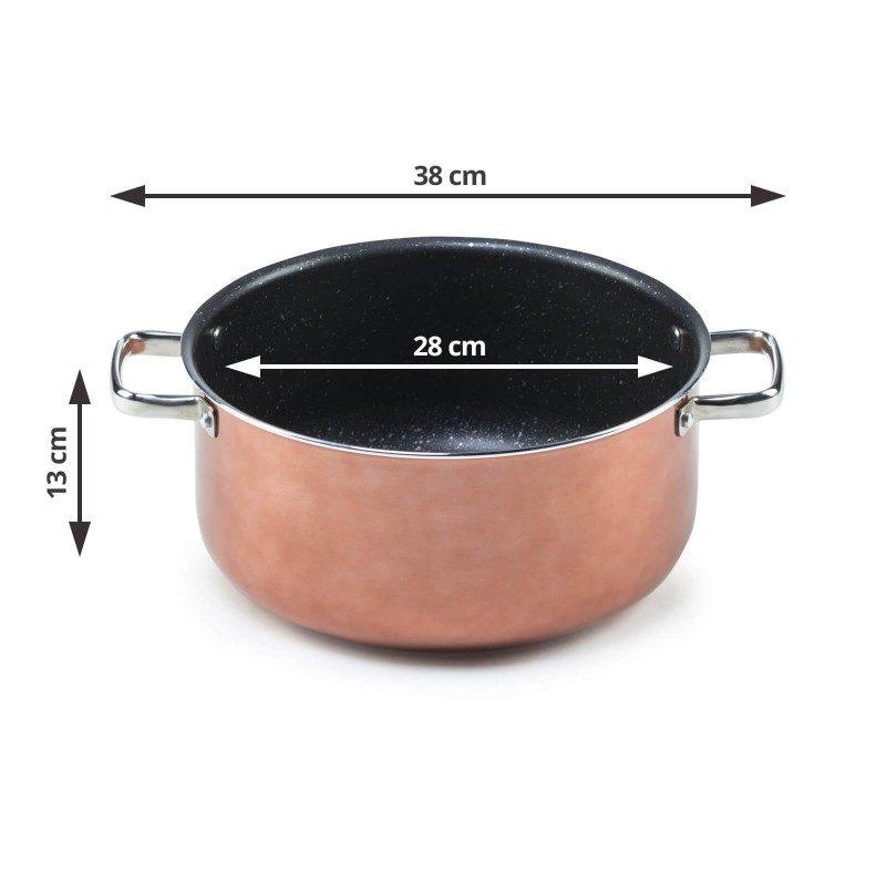 Šerpa Basté prečnika 28 cm sa efektom kuhanja na vrućem kamenu i neljepljivim glatkim mineralnim premazom, pružaju prirodan način kuhanja, sa vrlo malo masnoće. Hrana na taj način zadržava  sve vitamine i minerale koji su našem tijelu potrebni za zdrav način života. Pogodno za sve površine za kuhanje, uključujući indukcionu. Lako se čisti i može se prati i u mašini za pranje posuđa. Sve posude iz linije Basté temelje se na višeslojnom sastavu čime je zagarantovan dug vijek trajanja i visok stepen otpornosti i izdržljivosti posude.
