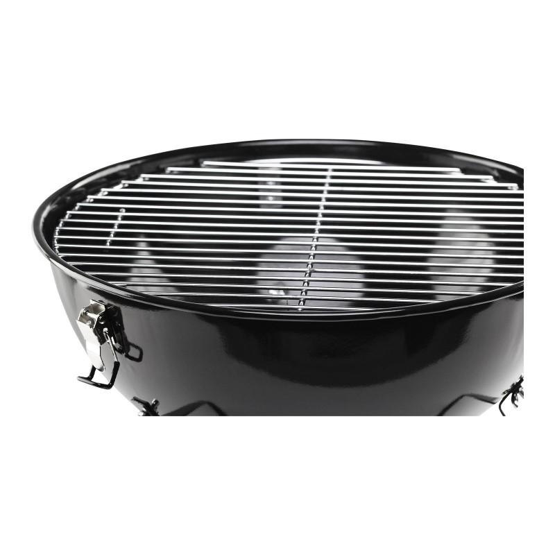 Prikladan manji roštilj na ugalj Rosmarino Blacksmith oduševit će sve ljubitelje roštiljanja. Okvir roštilja izrađen je od izdržljivog čelika presvučenog emajlom za još veću izdržljivost i otpornost na visoke temperature. Hromirana rešetka prečnika  36 cm  omogućava smiještanje svih vrsta mesa, ribe i povrća. Površina za pečenje je prave veličine za smještaj svih vrsta mesa, ribe i povrća. Poklopac omogućava pečenje cirkulacijom zraka, a ventili za zrak na poklopcu i posudi osiguravaju da se vatra ne ugasi i ravnomjerno cirkulira kroz posudu.