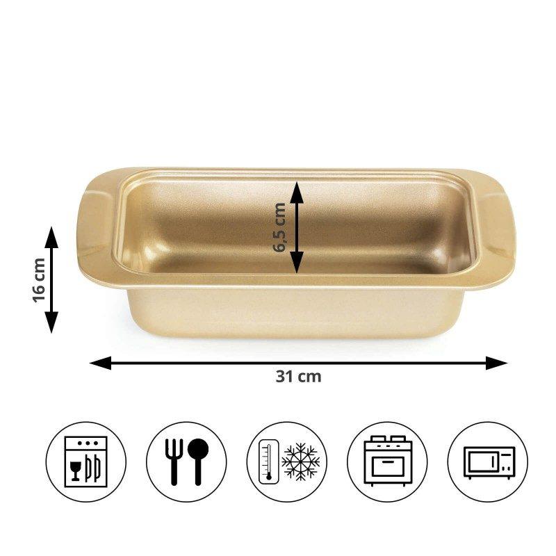 Viši pekač Rosmarino Baker Golden izrađen od visokokvalitetnog karbonskog čelika i modernog izgleda u zlatnoj boji, biće vaš novi nezamjenjivi pomoćnik za pečenje. Neprijanjajući premaz sa efektom vrućeg kamena, daje jedinstven pristup pečenju. Hrana se tako neće lijepiti za posudu i lako ćete je izvaditi bez upotrebe kuhinjskog pribora. Pekač je zahvaljujući svom sastavu od karbonskog čelika otporan na visoke temperature i do 240 °C, pogodan i za skladištenje u frižideru. Idealan za pečenje mesa, hljeba i drugih peciva.