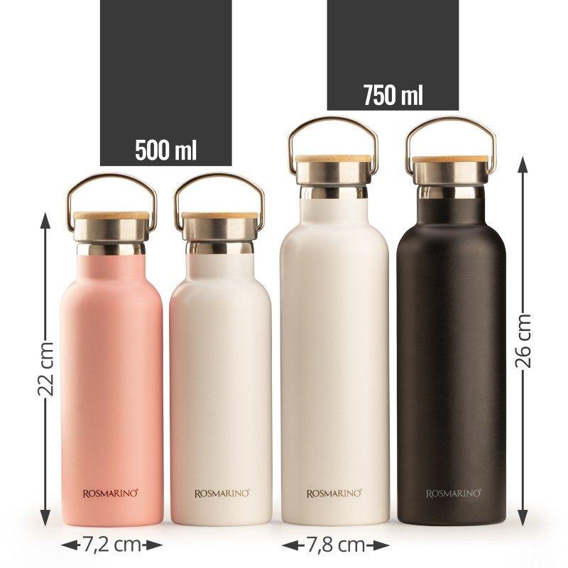 Vakuumska termos boca, od nehđajućeg čelika, nema nikakav miris ili ukus prilikom korišćenja. Ima dvostruko izolovan zid, tako da piće ostaje hladno 24 h i toplo 12 h. Moderno dizajniran termos, ima specijalni premaz za bolje prijanjanje ruci. Većoj elegancija doprinosi poklopac od bambusa. Bijela boja, zapremina 750 ml.