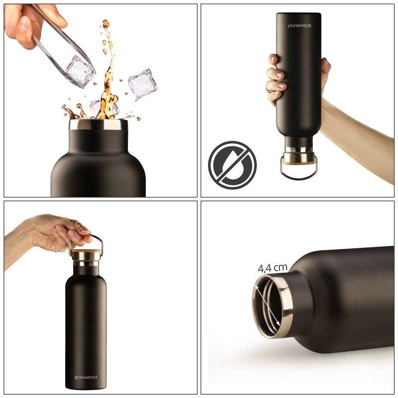 Visokokvalitetna vakuumska termos boca od nehrđajućeg čelika, ne veže na sebe miris ili okus. Ima dvostruko izoliran zid tako da čuva tekućinu hladnom 24 sata i toplom 12 sati. Moderno dizajnirana termosica ima poseban premaz za lakše prijanjanje. Eleganciju joj daje poklopac od bambusa.