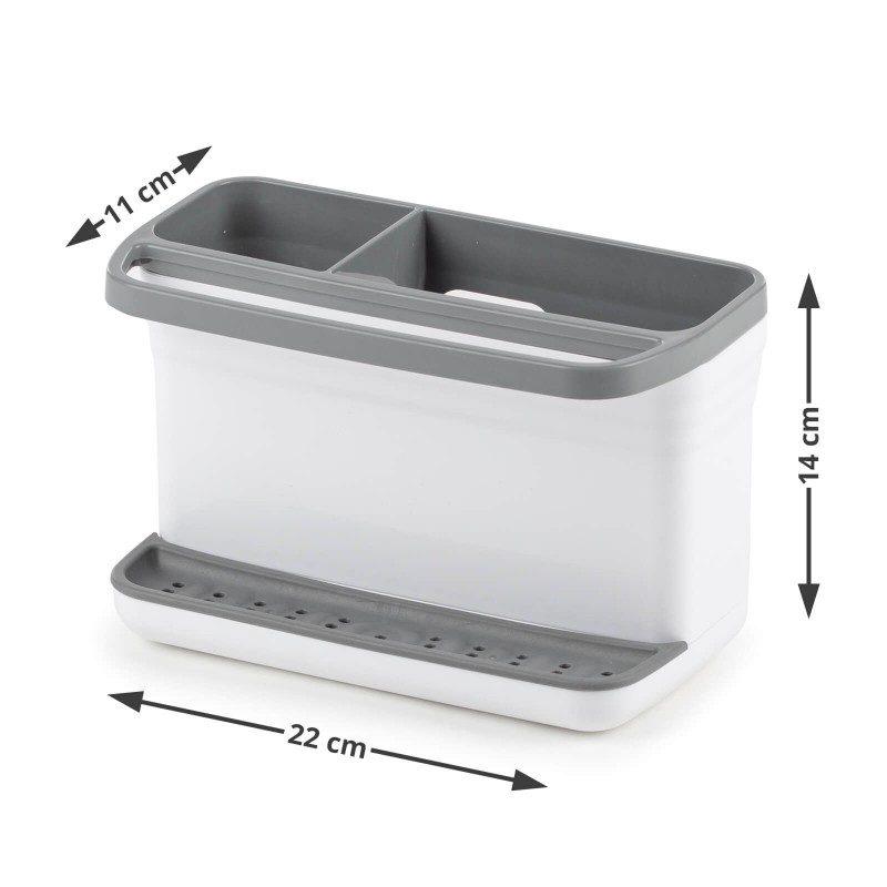 Mali, ali izuzetno praktičan kuhinjski organizator za odlaganje sredstava za čišćenje. Veća pregrada je savršena za skladištenje deterdženta, a manja za četke za čišćenje. Silikonska podloga za spužvu za čišćenje će zadržavati sav višak vode, tako da više nećete imati problema sa kapanjem. Praktična ručka je idealna za vješanje kuhinjske krpe. Jednostavno podignite gornji dio i prospite višak vode koji se nakupio. Najpogodniji i najjednostavniji način za skladištenje spužve, deterdženata i drugih sredstava za čišćenje - sve na jednom mjestu