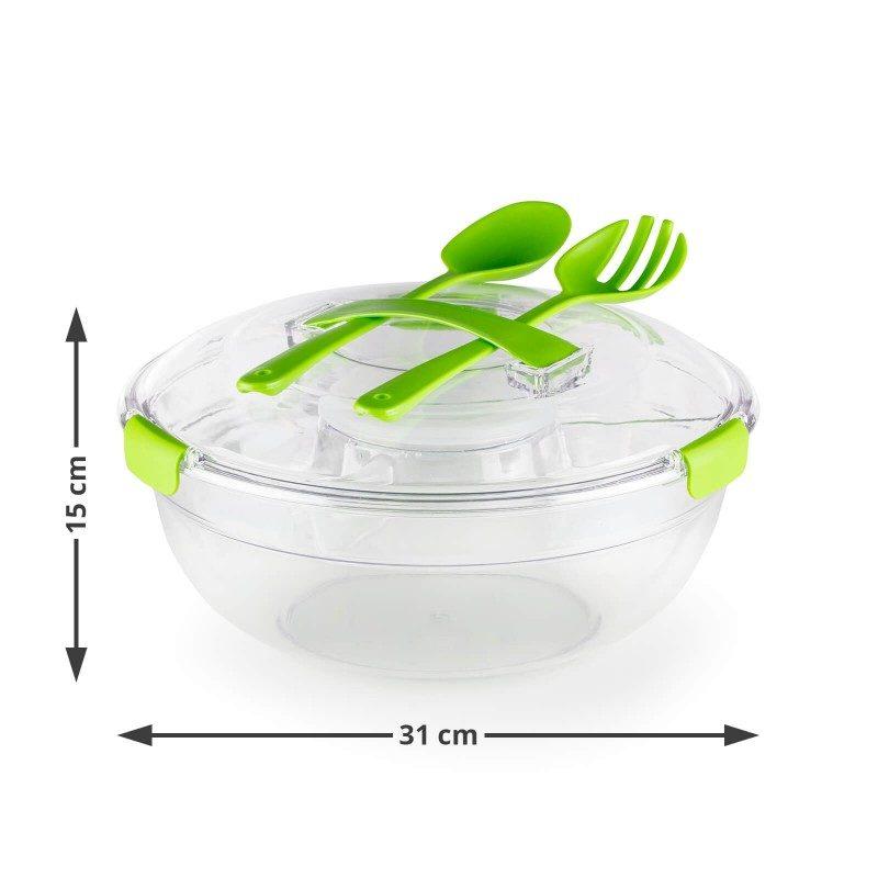 """Velika posuda za salatu koju jednostavno ponesete na posao, na plažu ili na piknik, jer na putu ima sve što vam je potrebno za zdrav obrok. Ima veliki prostor za salatu, poseban produžetak s pregradama, gdje možete lako pohraniti veće komade povrća ili mesa i prikladan spremnik za ocat i ulje. Sa zatvaranjem poklopca na """"clip lock"""", nošenje posude bit će potpuno sigurno, tako da ne morate brinuti da će se hrana proliti ili rasipati. Također su uključene veća kašika i viljuška za jednostavno miješanje salate. Ako skinete srednji pregradni nastavak, možete posudu koristiti za spremanje i transport voća, voćnih salata ili druge pripremljene hrane. Izrađena je od moderne PETG plastike bez BPA, koja je mnogo otpornija na udarce i kvalitetnija od plastike koja se koristi u sličnim proizvodima na tržištu."""