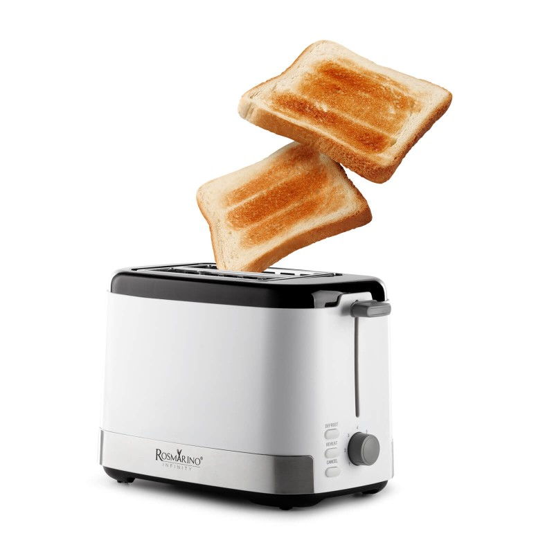 Toster Rosmarino Infinity jednostavan je za upotrebu te savršeno tostira kruh ili tost za svaki obrok. Idealan je za razno tostiranje, gdje svaki član porodice može pripremiti tost po svojoj želji. Možete birati između 7 različitih razina tostiranja. Dodatne 3 funkcije odmrzavanja, zagrijavanja i prekida savršene su za moderan i brz tempo života. Minimalistički dizajn u bijeloj i inox boji s crnim detaljima završne obrade zadovoljit će sve ljubitelje kuhanja. Zahvaljujući uklonjivoj ladici za mrvice uređaj je jednostavan za čišćenje.