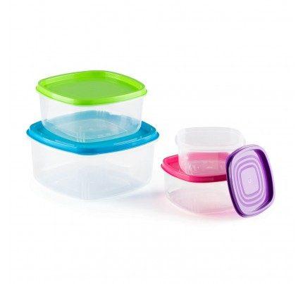 4-dijelni set šarenih plastičnih posuda za spremanje namirnica Rosmarino