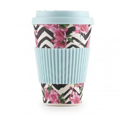 Šolja za kafu od bambusa Pink flamingo - 400 ml
