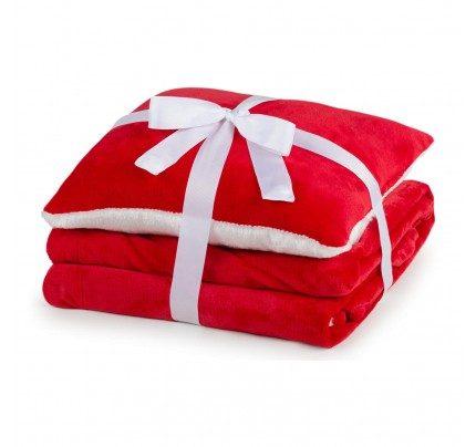 Dekorativni pokrivač i jastuk Vitapur Beatrice solid  - crvena