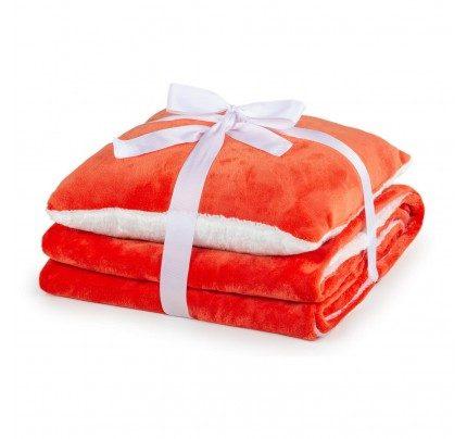 Dekorativni pokrivač i jastuk Vitapur Beatrice solid  - narandžasta