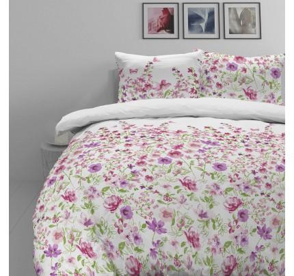 Pamučno-satenska posteljina Svilanit Pink Flowers