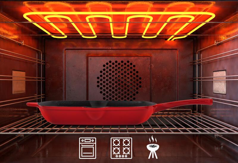 Primjereno za upotrebu na svim površinama za kuhanje ključujući indukciju, električne ploče, roštilj i otvorenu vatru